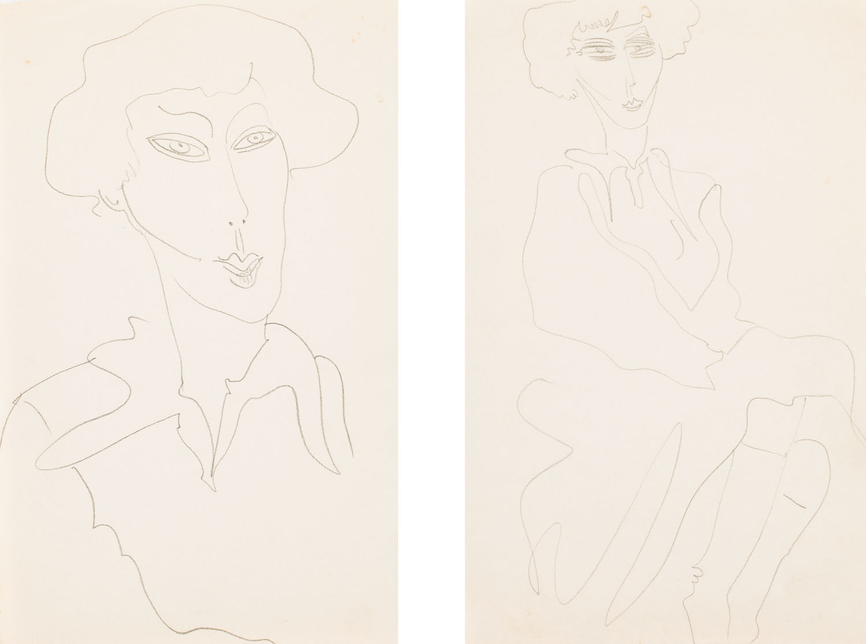 Studium portretu kobiety - praca podwójna