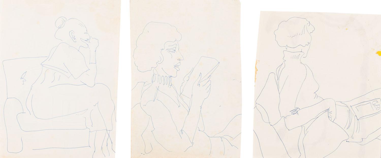 Studium kobieta siedząca (3 prace), 1977