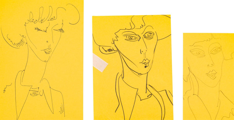 Studium portretu kobiety (3 prace), 1977