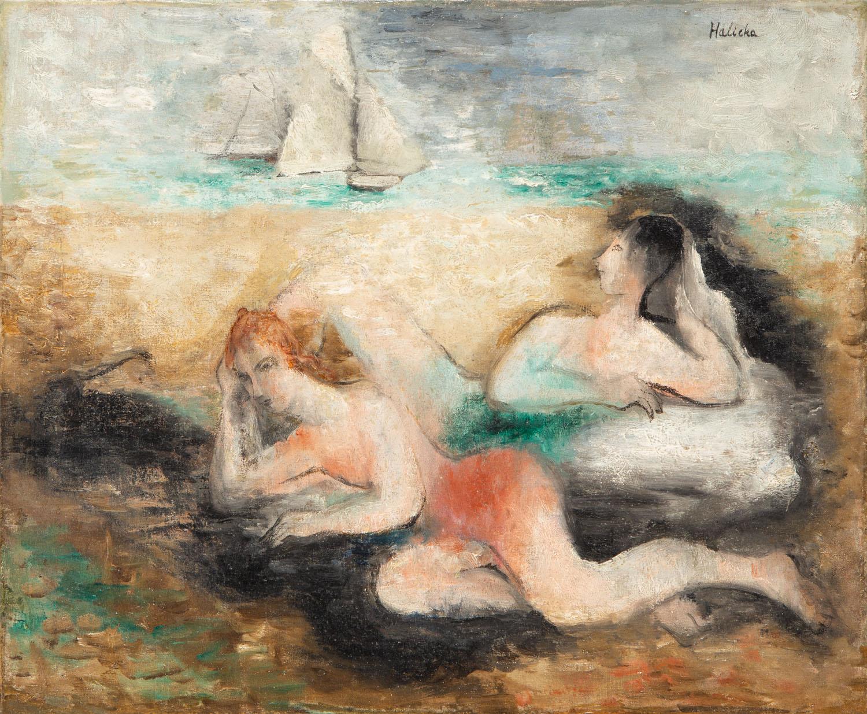 Nagie kobiety nad morskim brzegiem