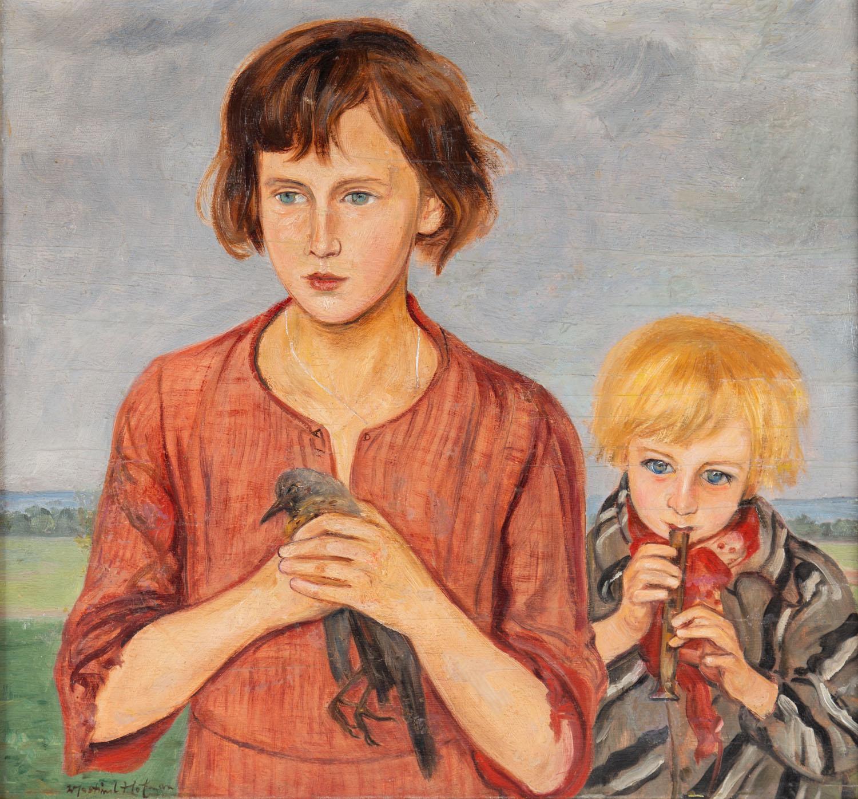 Portret dziewczynki z wroną i chłopca z fletem, około 1920