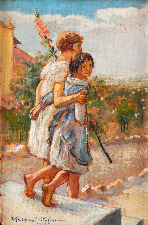 """Para dziewczynek z kwiatem malwy (""""W ogrodzie""""), 1926"""