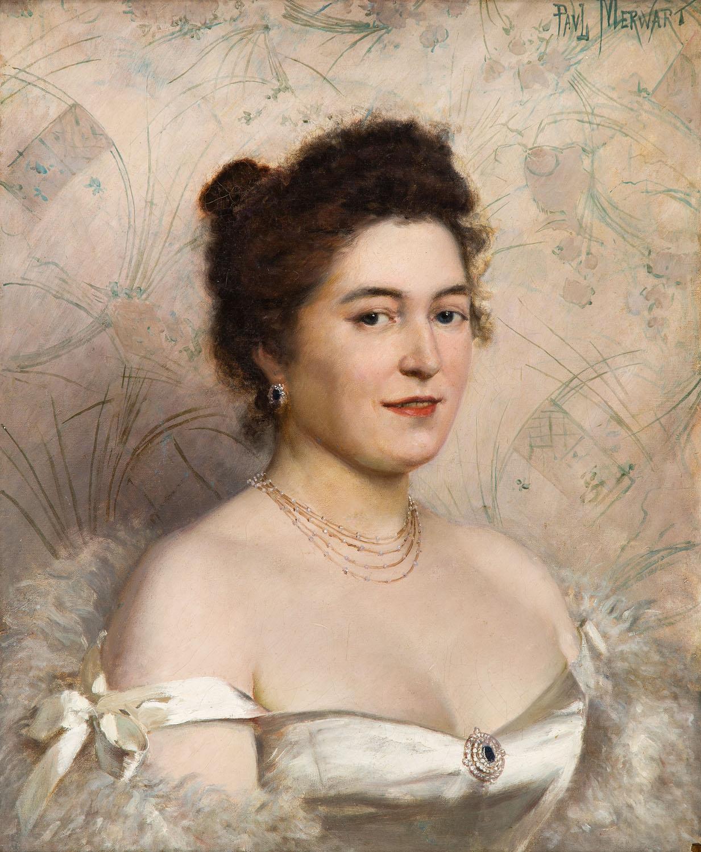Dama w białej sukni balowej