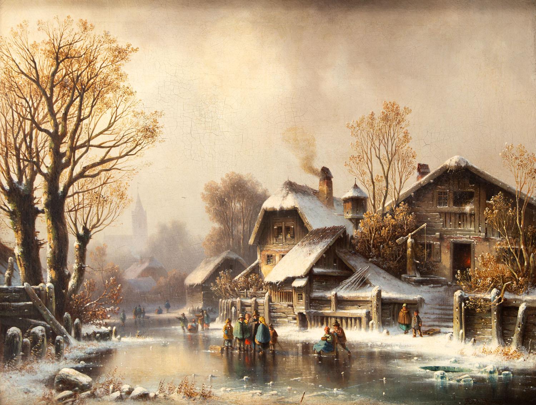 Zimowa zabawa, około 1860