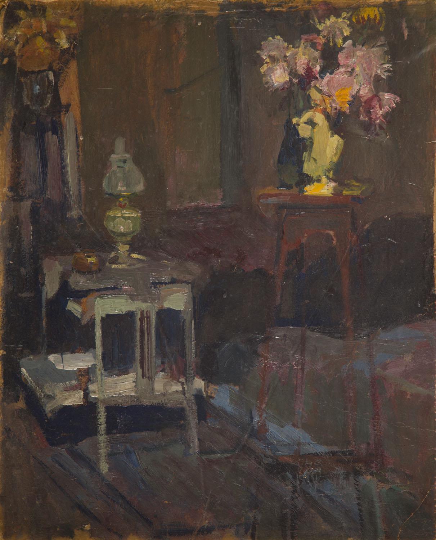 Wnętrze salonu z lampą naftową