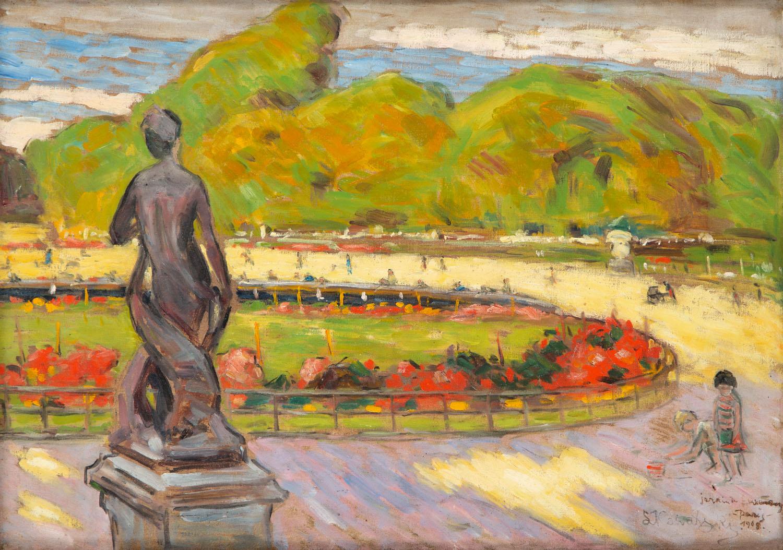 """Widok Ogrodu Luksemburskiego w Paryżu (""""Paryż""""), 1908"""