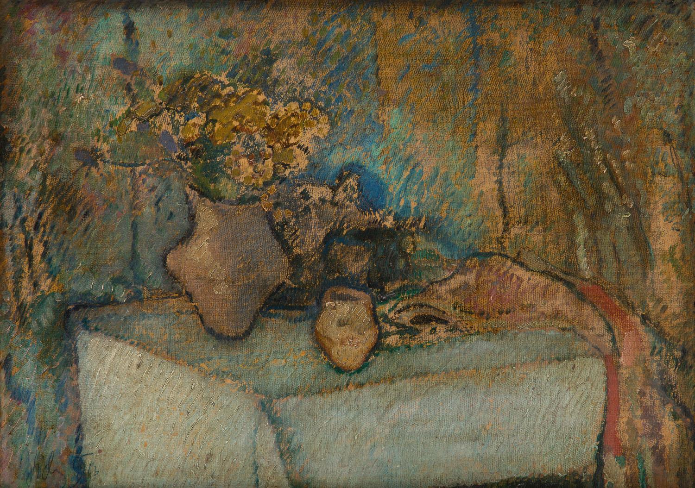 Martwa natura z dzbanem kwiatów na stole, 1913