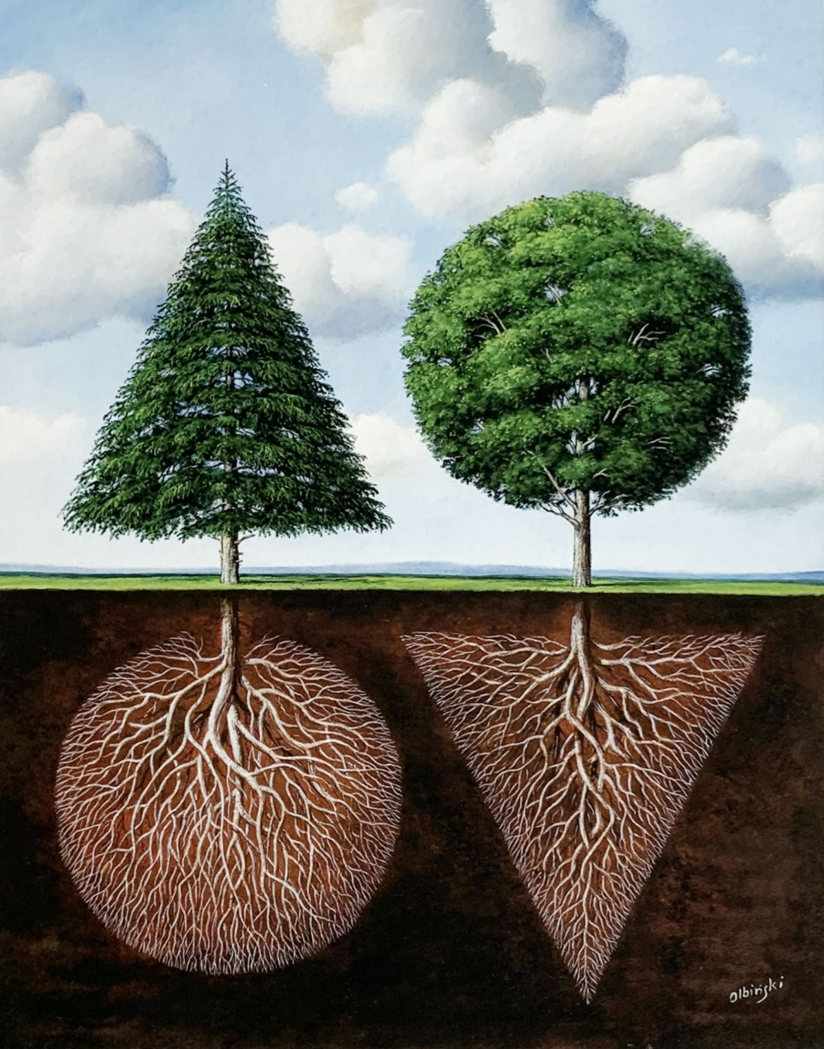 Dwa drzewa - powierzchowna analogia, 2020 r.