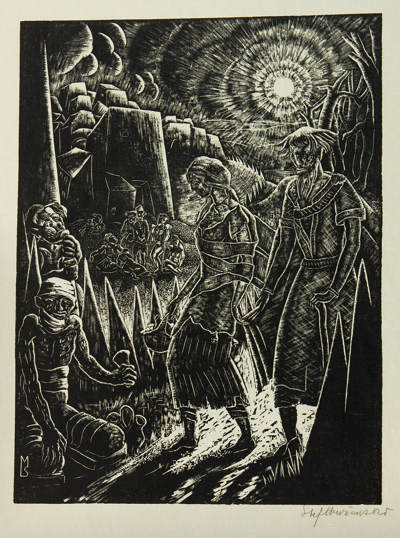 Prośba o jałmużnę, z teki Marcel Schwob, Le Roi au masque d or. Paris, 1929 r.