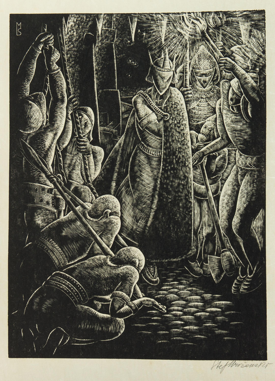 Niewolnicy przed królem, z teki Marcel Schwob, Le Roi au masque d or. Paris, 1929