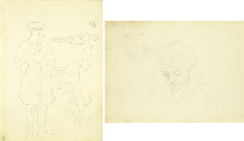 Szkice mężczyzny z psem, scenki ulicznej, 1922