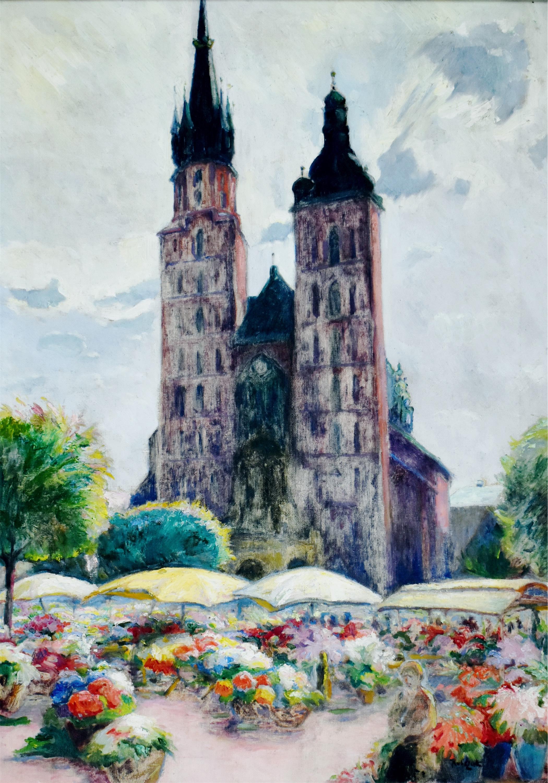 Targ kwiatów na Rynku Krakowskim, ok. 1934