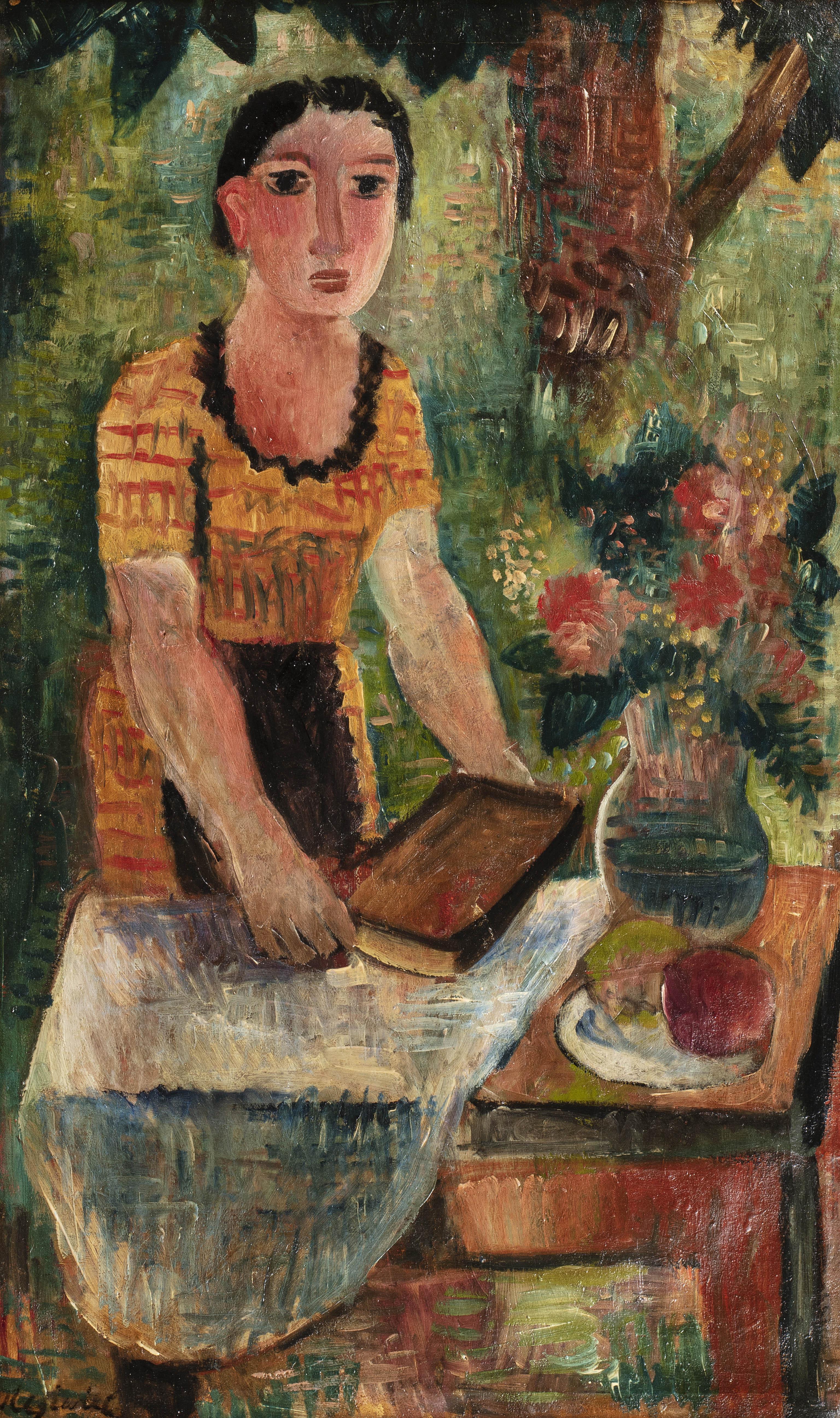 Młoda kobieta w swoim ogrodzie, ok. 1925
