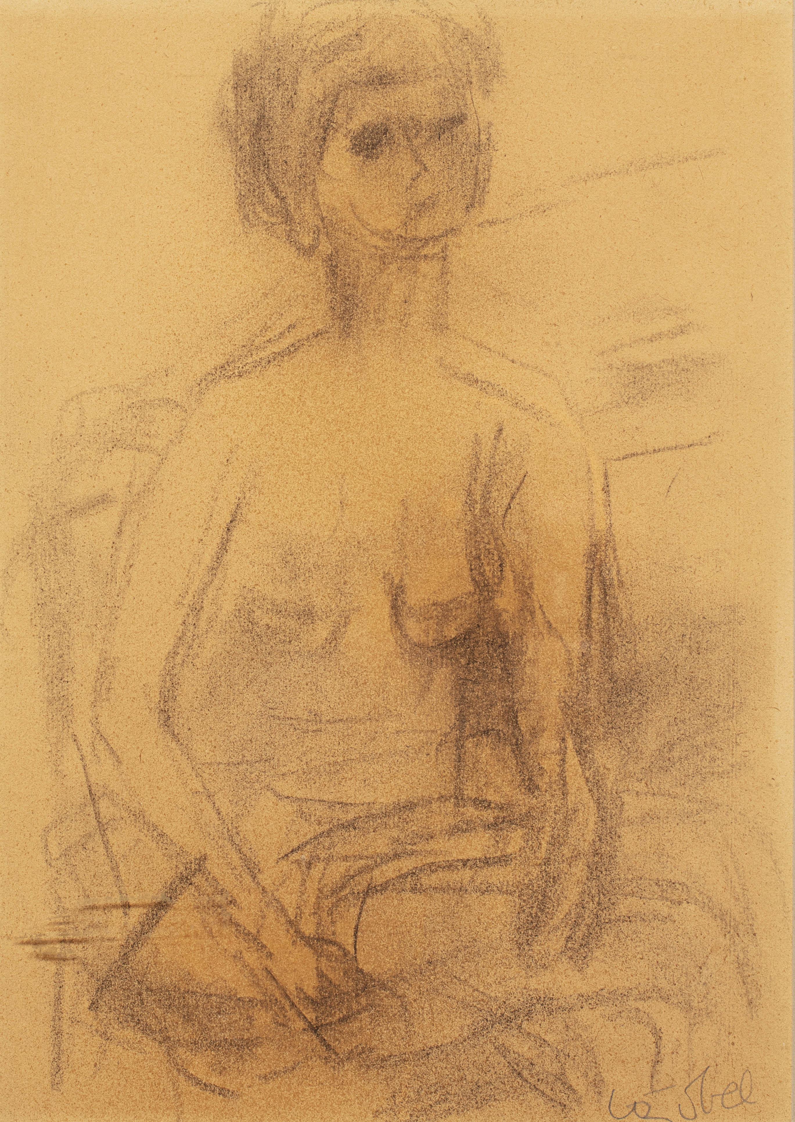Siedząca naga kobieta