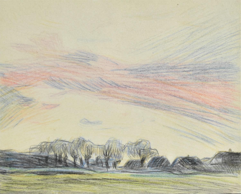 Widok na wieś o zachodzie słońca, ok. 1910