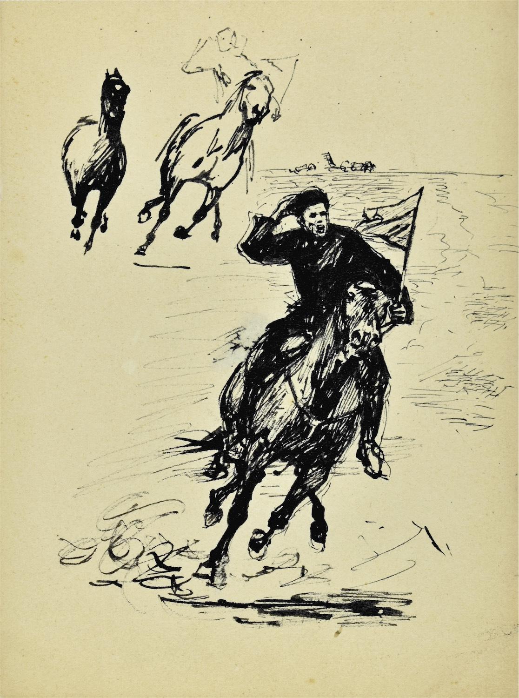 Szkice pędzącego jeźdźca na koniu i konia w galopie