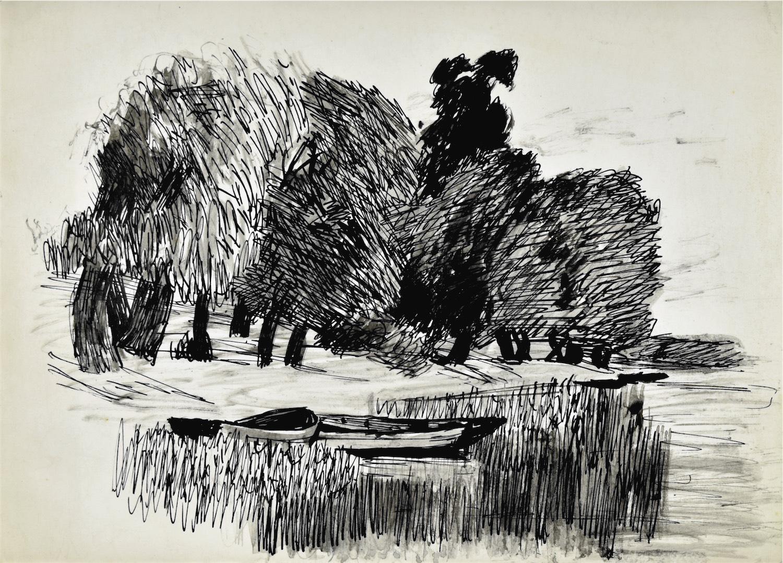 Łodzie nad brzegiem rzeki