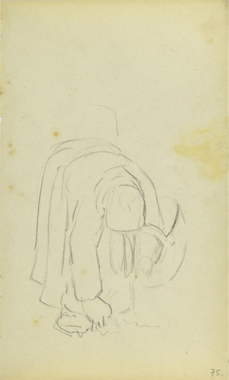 Wiejska kobieta z koszem pochylona, zbierająca płody