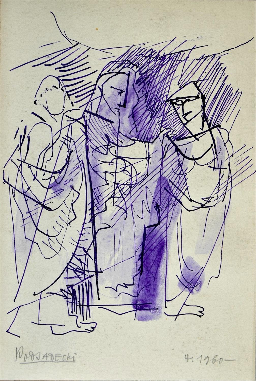 Trzy postacie w antycznych szatach, 1960