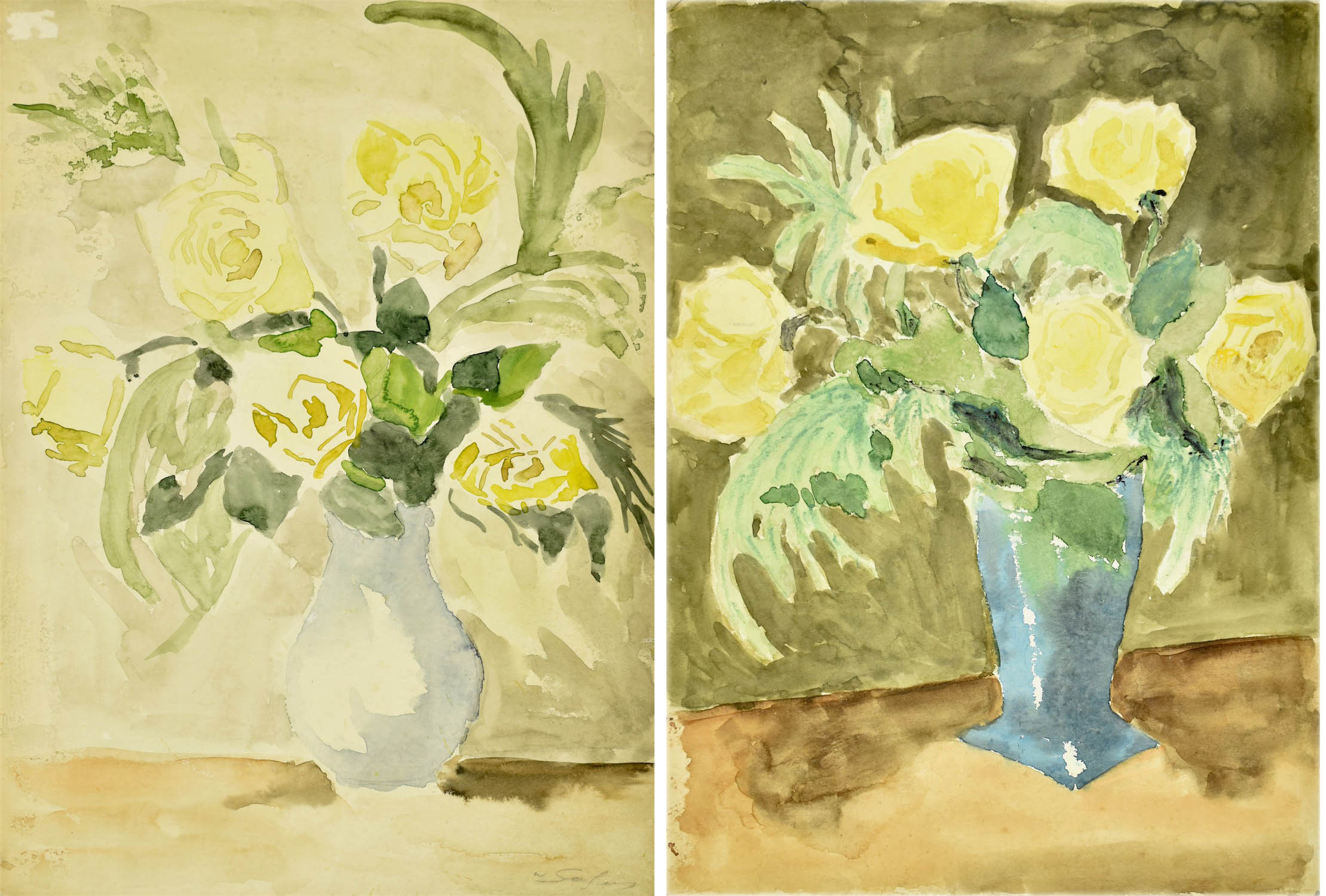 Róże w niebieskim wazonie