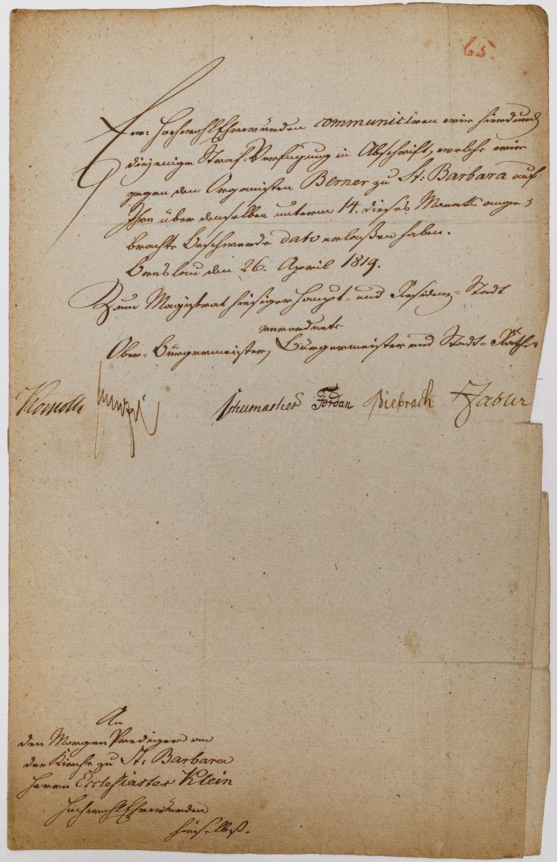 LIST DO KLEINA, proboszcza kościoła św. Barbary we Wrocławiu, 26.08.1819