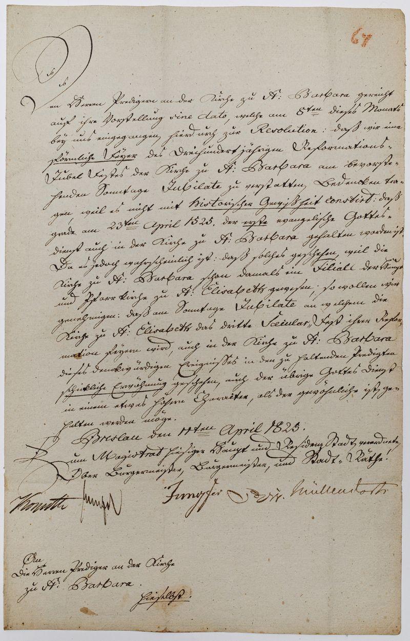LIST MAGISTRATU WROCŁAWIA, 11.04.1825