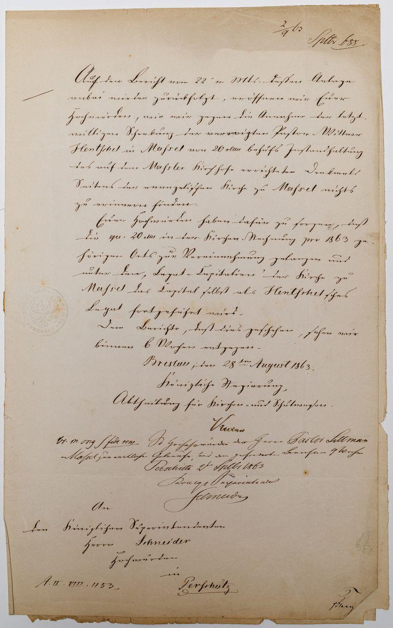 LIST DO SCHNEIDERA, Ochronka w Trzebnicy, Masłów, 21.06.1864