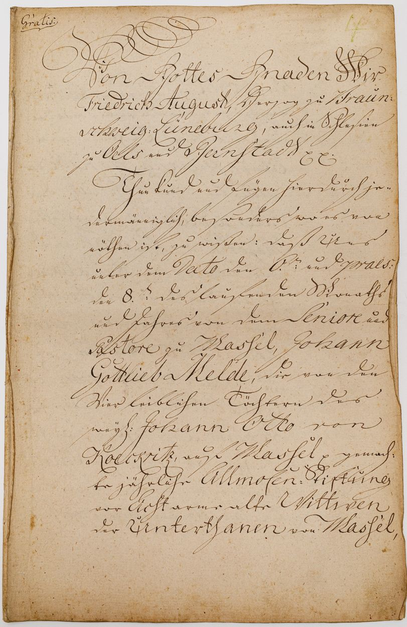 DOKUMENT FRYDERYKA AUGUSTA, KSIĘCIA BRUNSZWICKO-OLEŚNICKIEGO, Oleśnica 4.08.1796