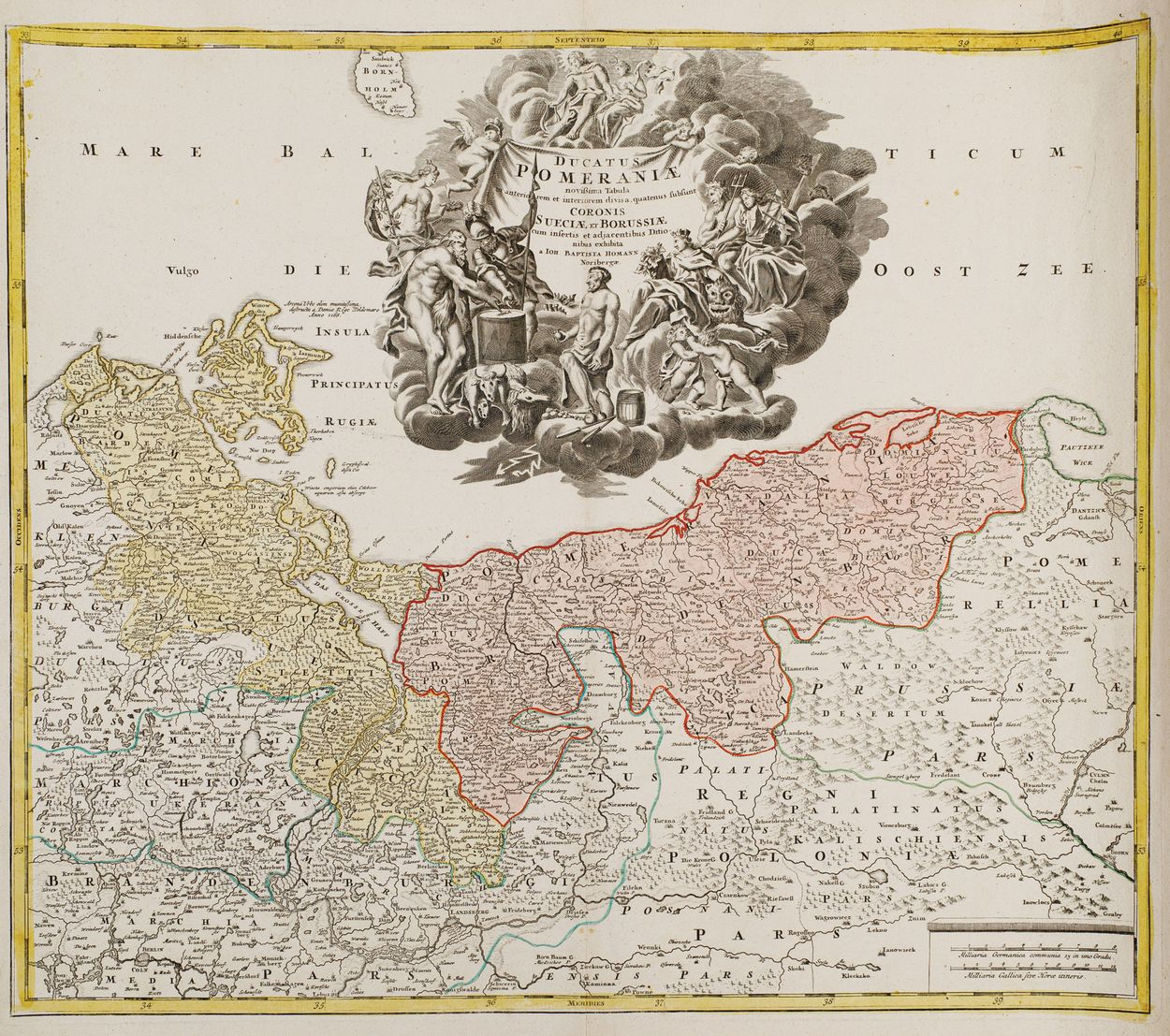 MAPA KSIĘSTWA POMORSKIEGO, Norymberga, Johan Baptist Homann, ok. 1720