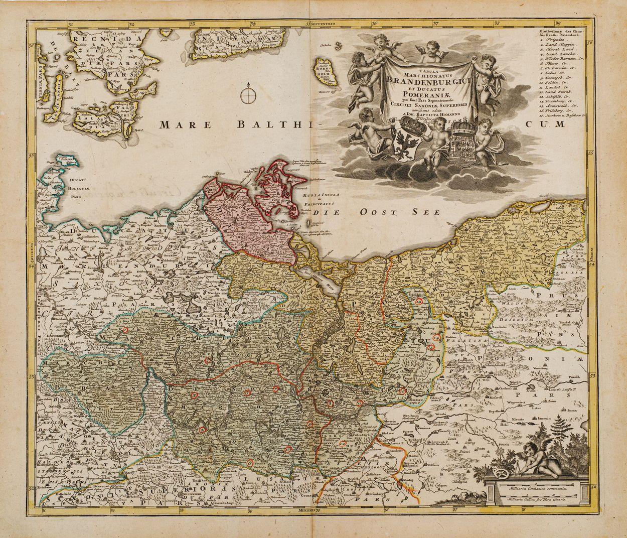 MAPA BRANDENBURGII I POMORZA, Norymberga, Johan Baptist Homann, 1700 – 1725