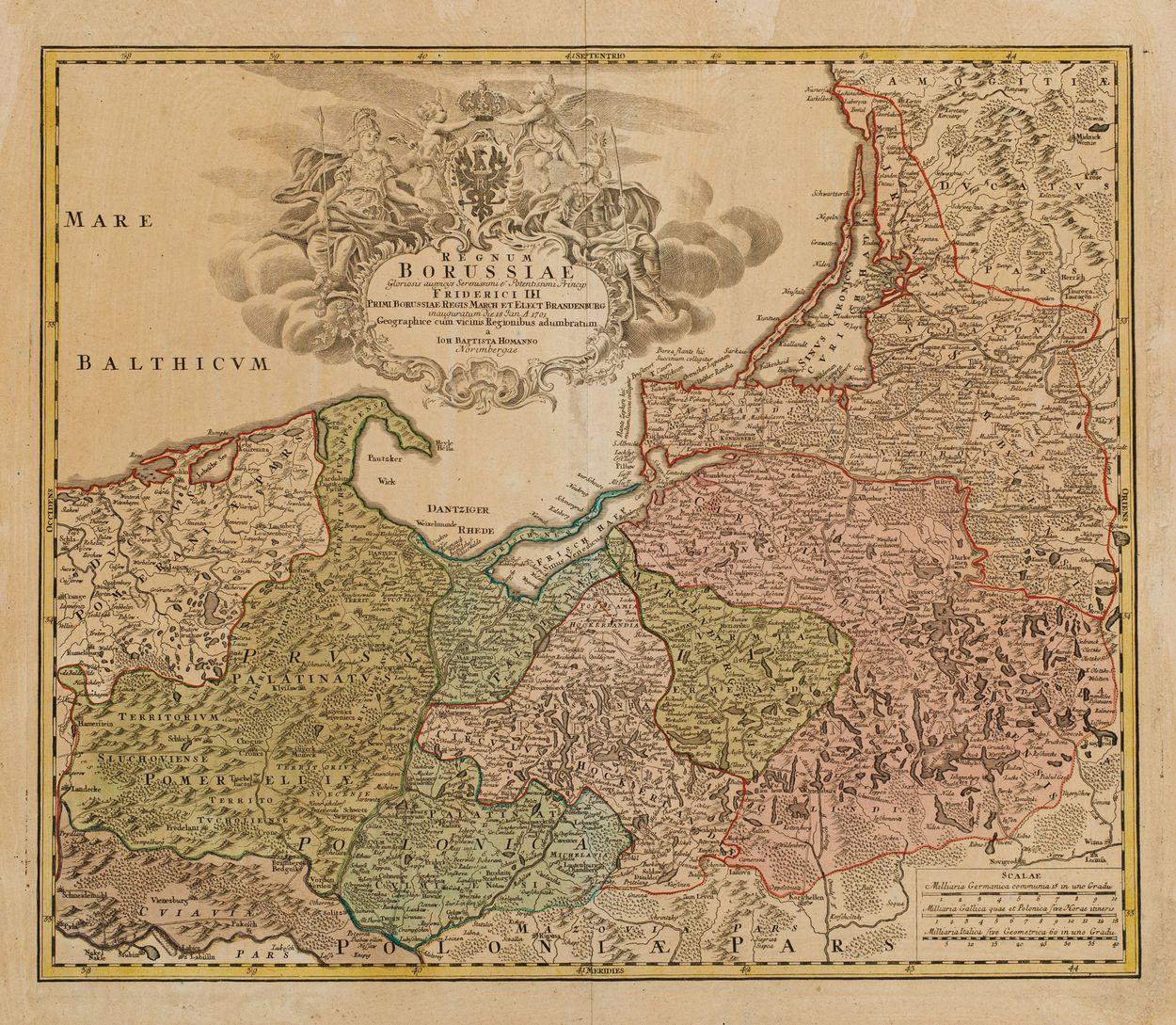 MAPA KRÓLESTWA PRUS, Norymberga, Johan Baptist Homann, 1701-1715