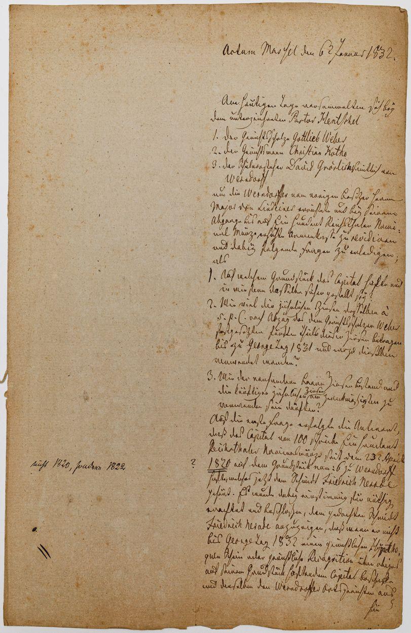 WYCIĄG Z AKT PARAFII MASSEL (ob. Masłów k. Trzebnicy) 02.02.1832