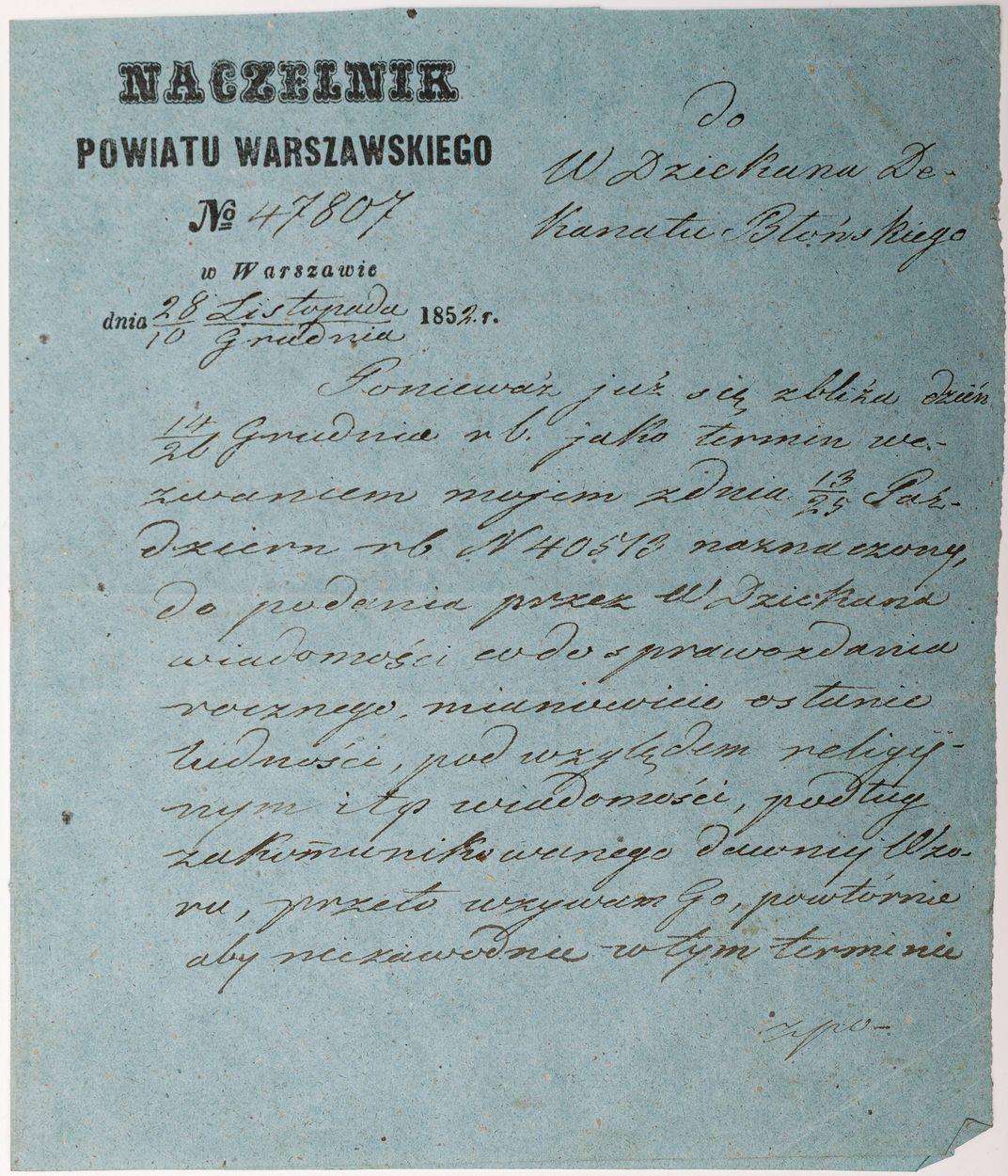 LIST NACZELNIKA POWIATU WARSZAWSKIEGO, 10.12.1852