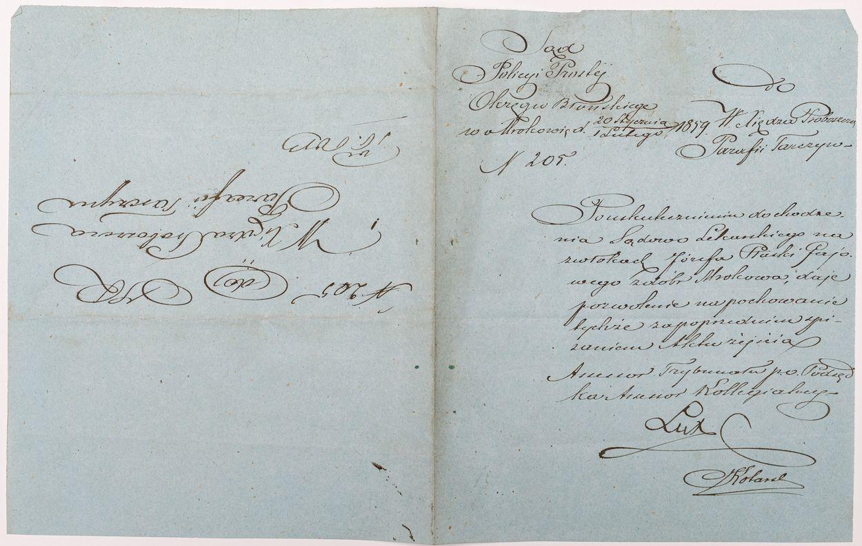 LIST OD SĄDU POLICJI PROSTEJ OKRĘGU BŁOŃSKIEGO W MROKOWIE, 1.02.1859