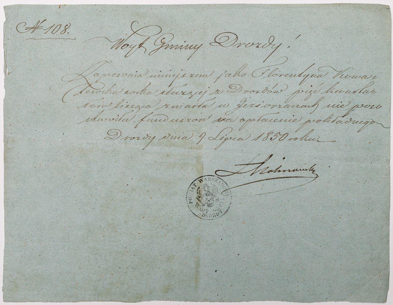 LIST WÓJTA GMINY DROZDY, 1.07.1850
