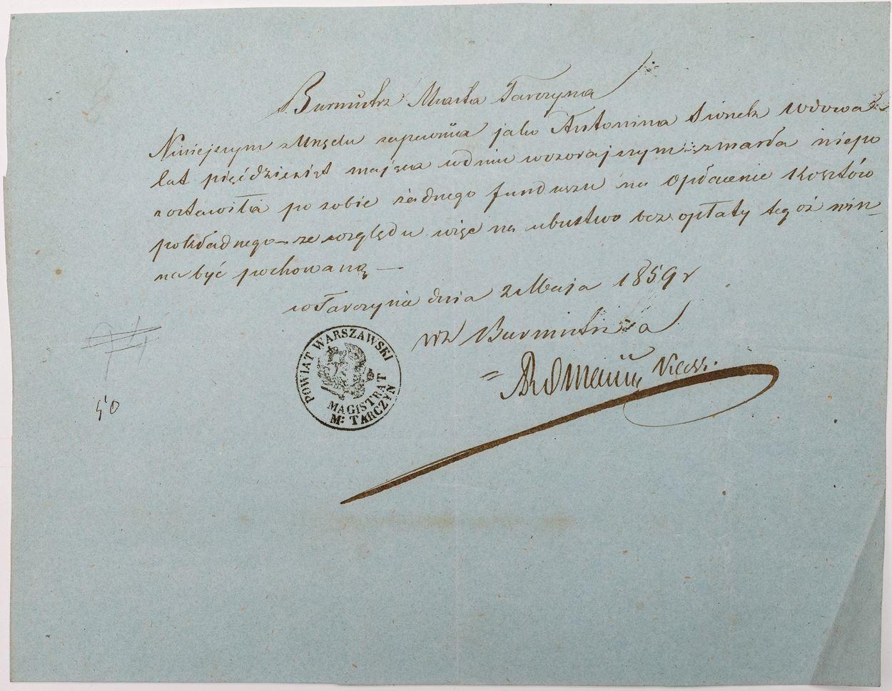 LIST BURMISTRZA TARCZYNA, 2.05.1859