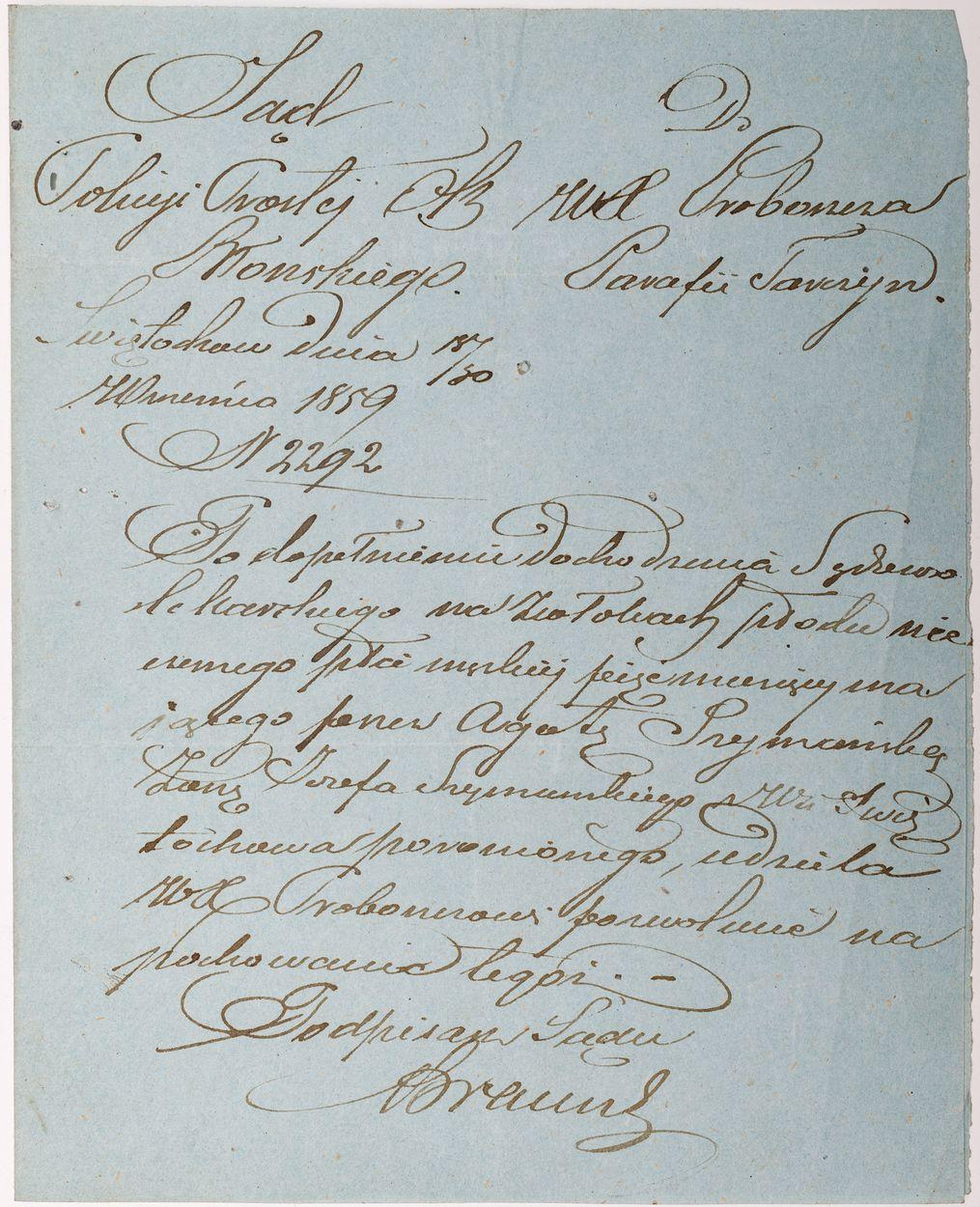 LIST SĄDU POLICJI PROSTEJ, Świętorków, 30.09.1859