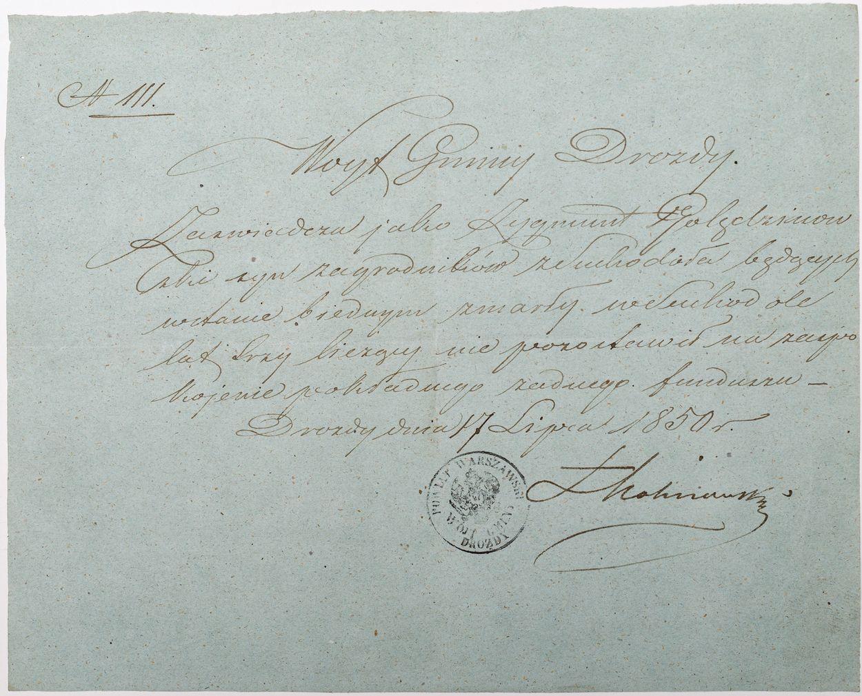 LIST WÓJTA GMINY DROZDY, 17.07.1850