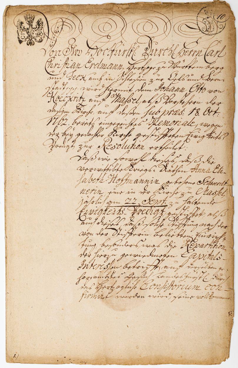 DOKUMENT KSIĘCIA OLEŚNICKIEGO KAROLA KRYSTIANA ERDMANNA WIRTEMBERSKIEGO, 7.03.1763