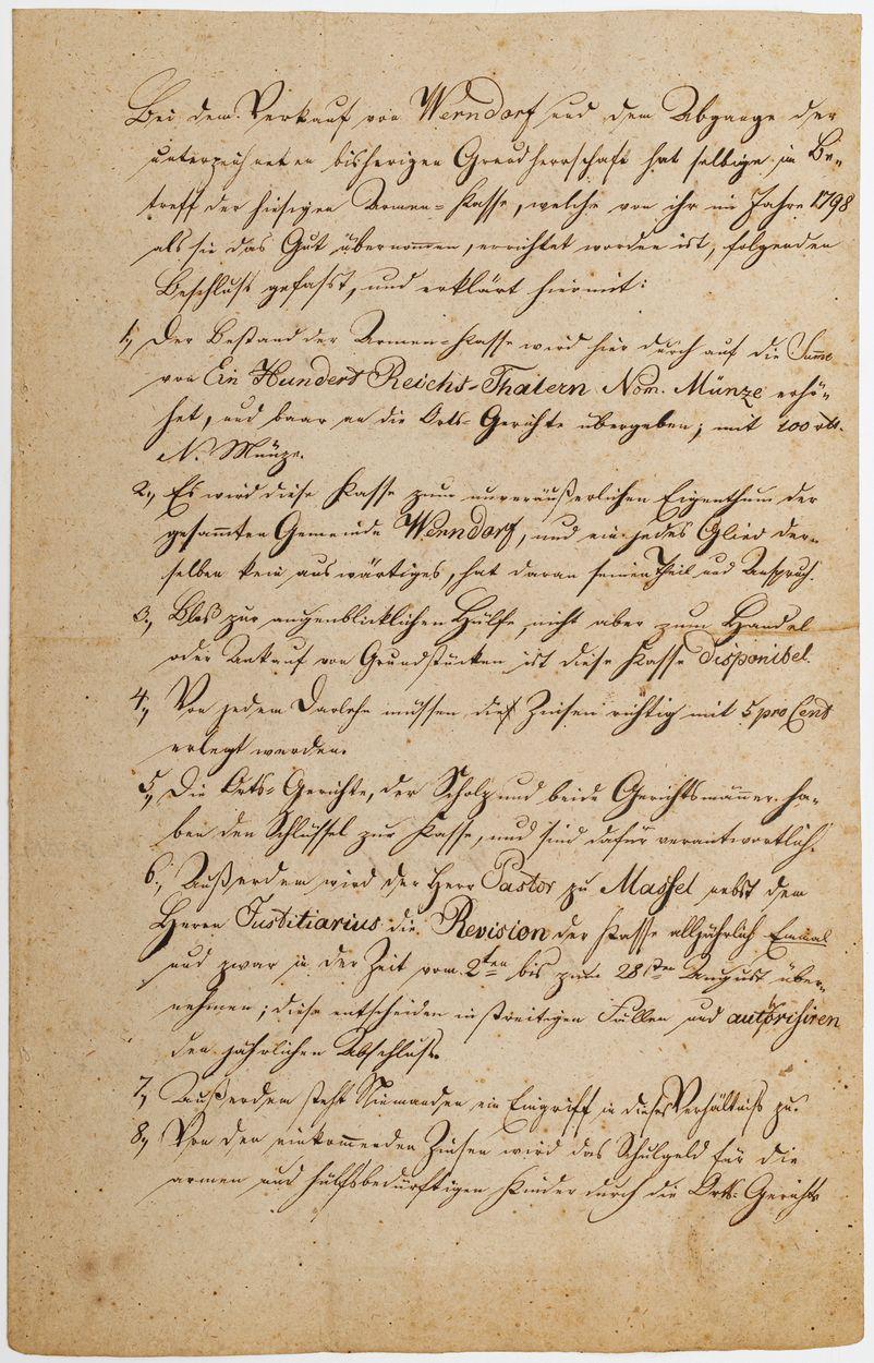 DOKUMENT, Werndorf (ob. Jaźwiny koło Trzebnicy), 3.09.1819