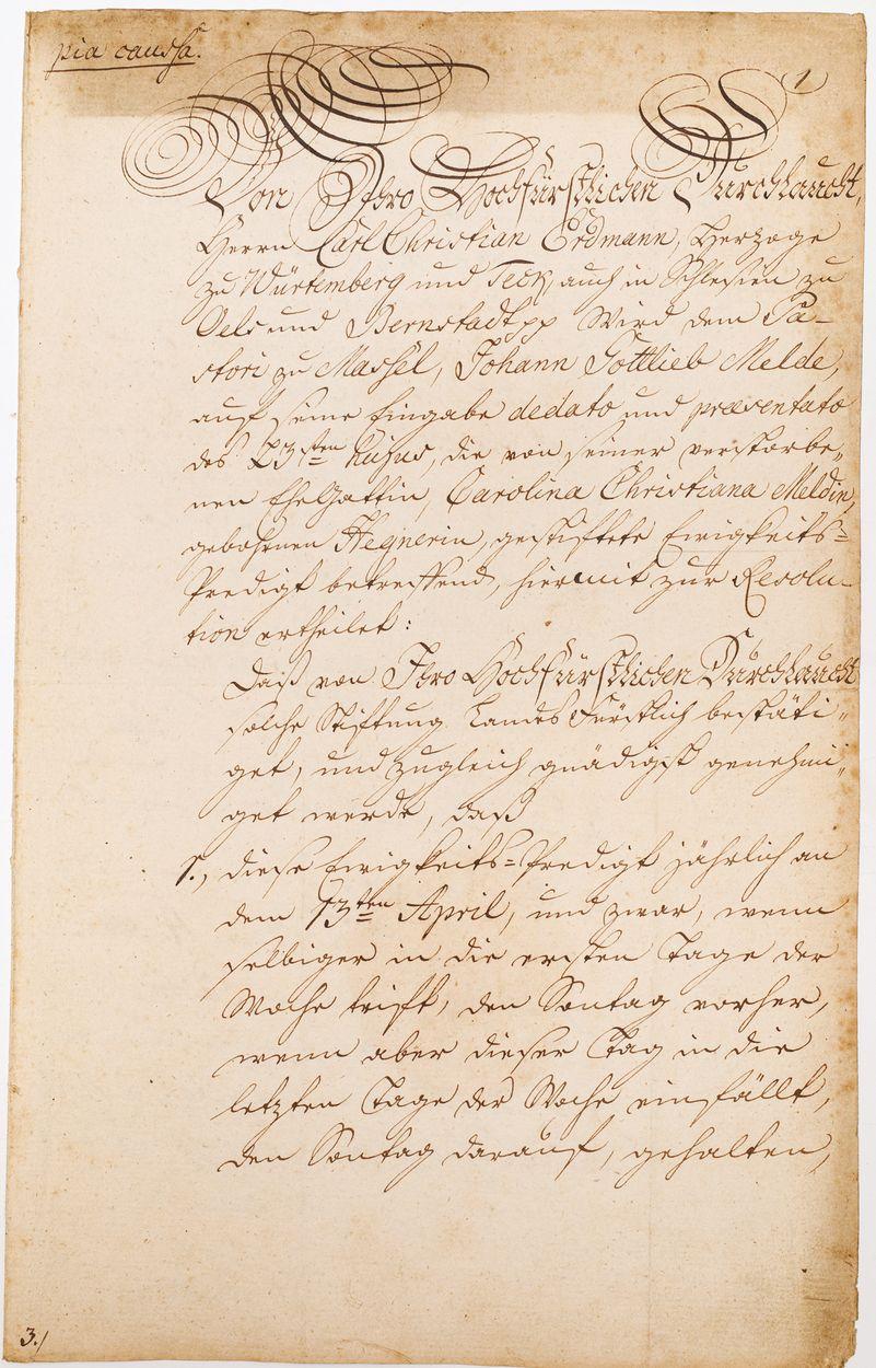 DOKUMENT KSIĘCIA OLEŚNICKIEGO KAROLA KRYSTIANA ERDMANNA WIRTEMBERSKIEGO, 25.02.1791