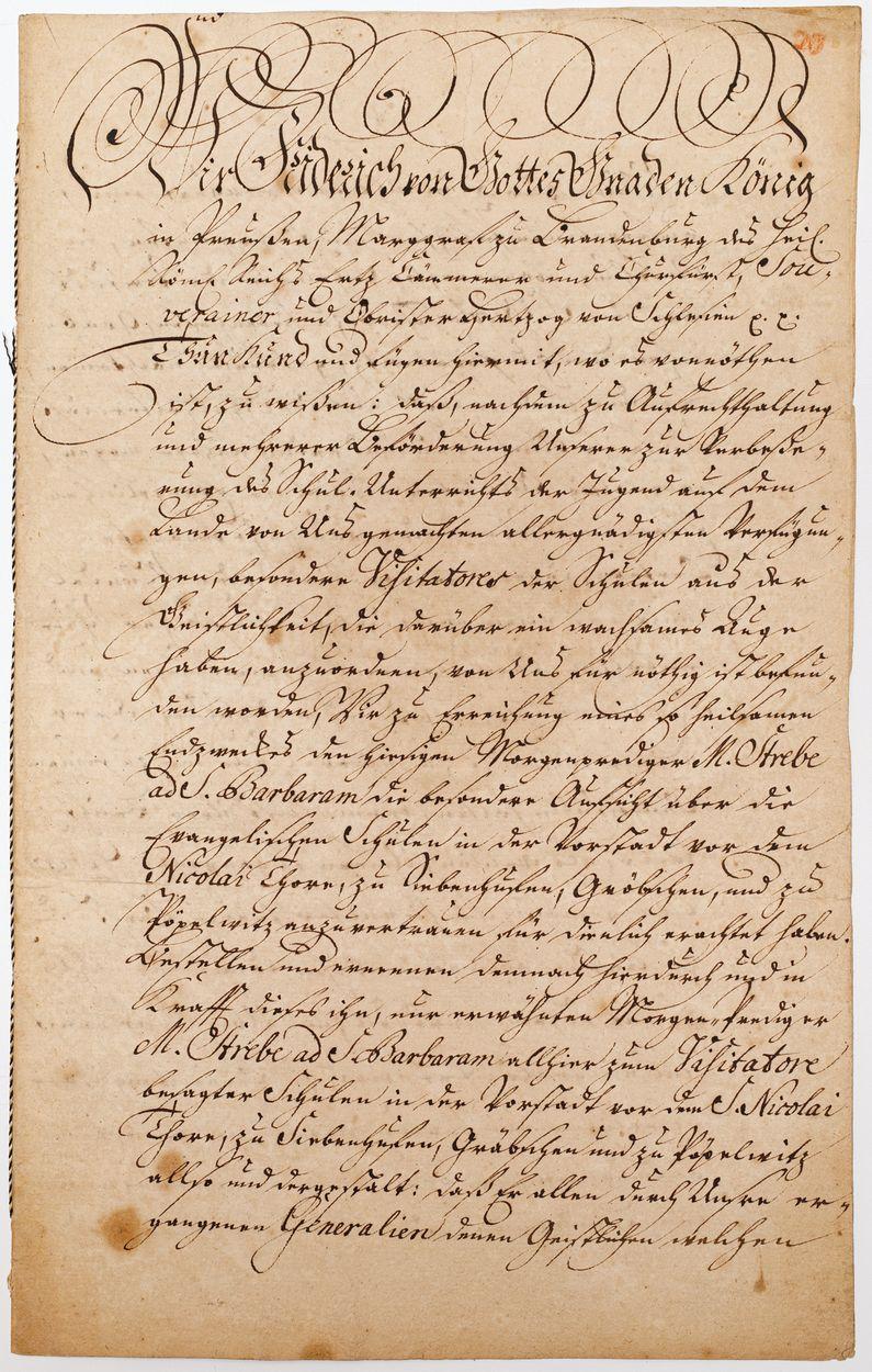 DOKUMENT KRÓLA PRUS FRYDERYKA II, 11.09.1760