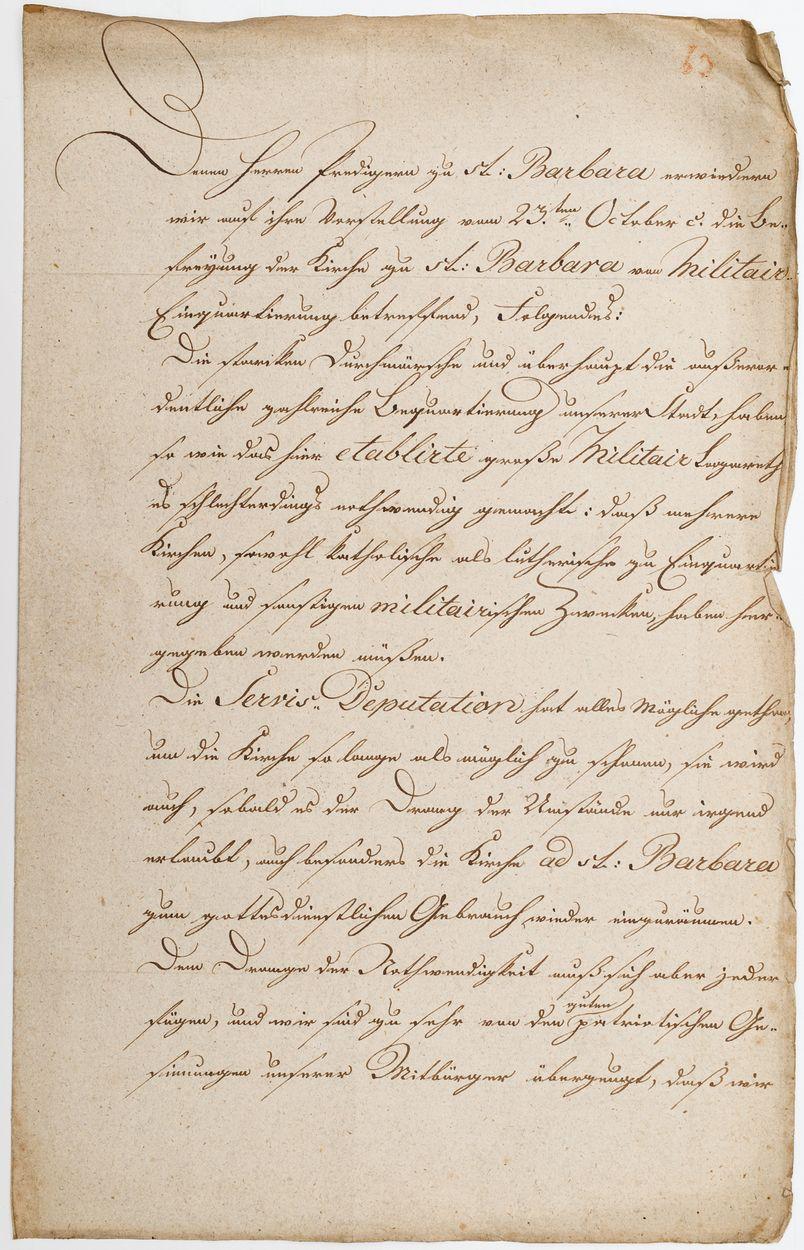 DOKUMENT, TYCZĄCY PARAFII ŚW. BARBARY WE WROCŁAWIU, 8.11.1813