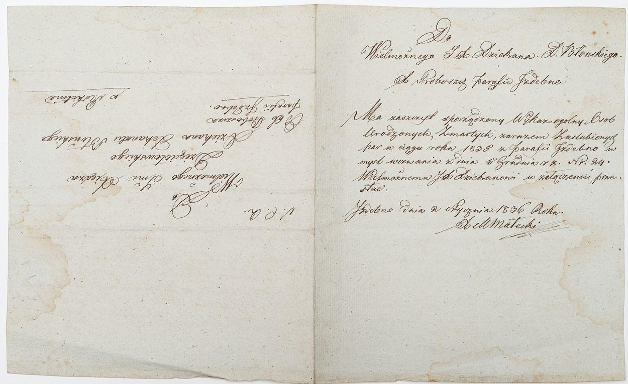 LIST OD PROBOSZCZA PARAFII IZDEBNO MATEUSZA MAŁECKIEGO, 2.01.1836
