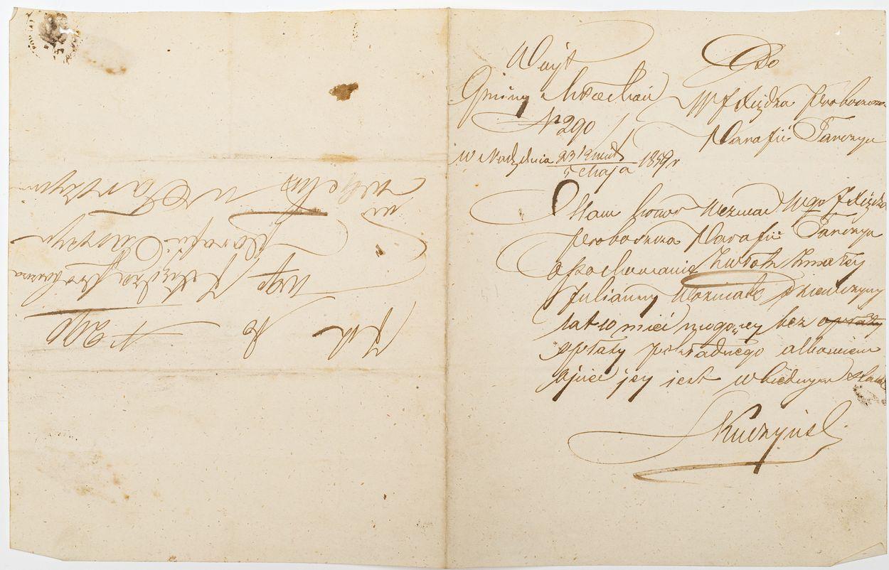 LIST DO PROBOSZCZA PARAFII TARCZYN 5.05.1849