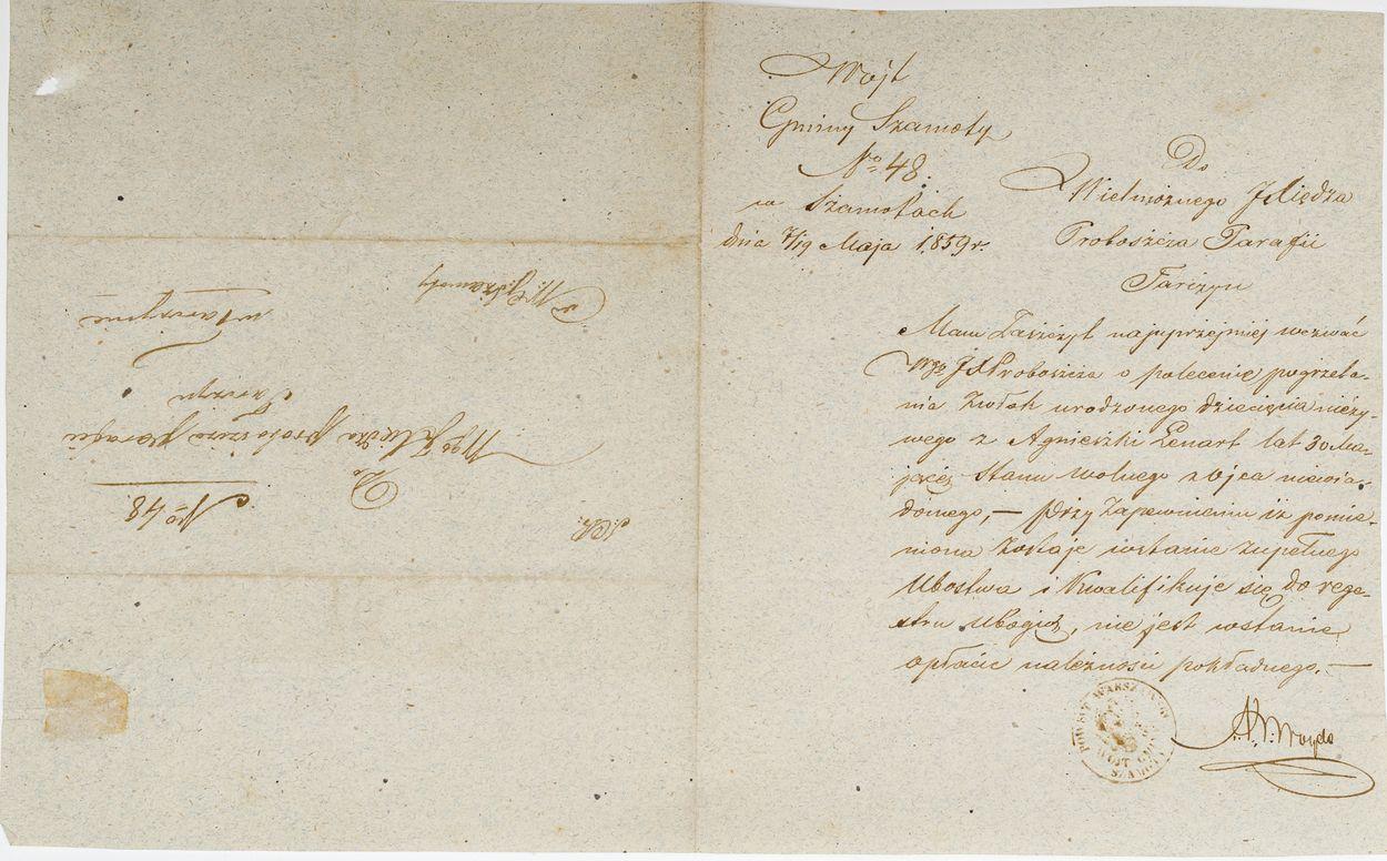 LIST OD WÓJTA GMINY SZAMOTY, 7.05.1859