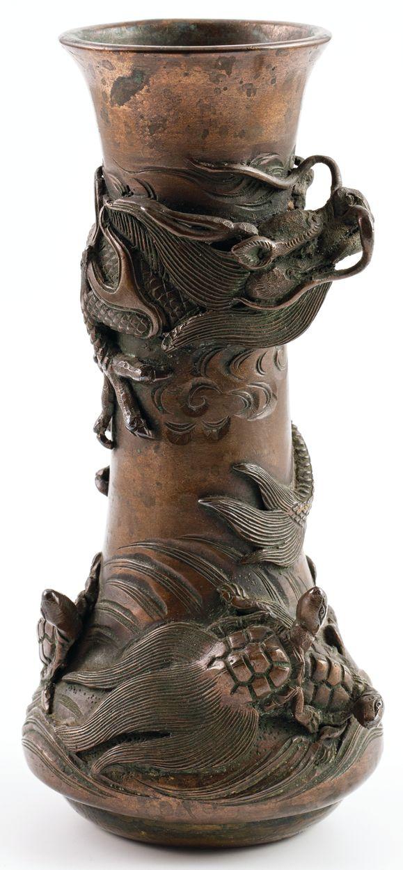 WAZON ZE SMOKIEM I ŻÓŁWIAMI, Chiny, 2 poł. XIX w.
