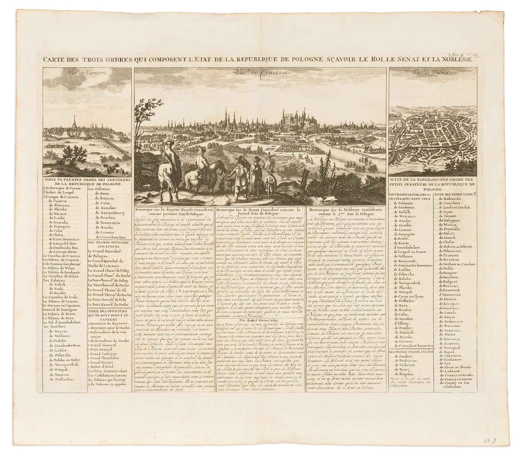 [KRAKÓW, WARSZAWA, WILNO] Carte Des Trois Ordres Qui Composent L'Etat De La Republique De Pologne : Sçavoir Le Roi, Le Senat Et La Noblesse, 1715