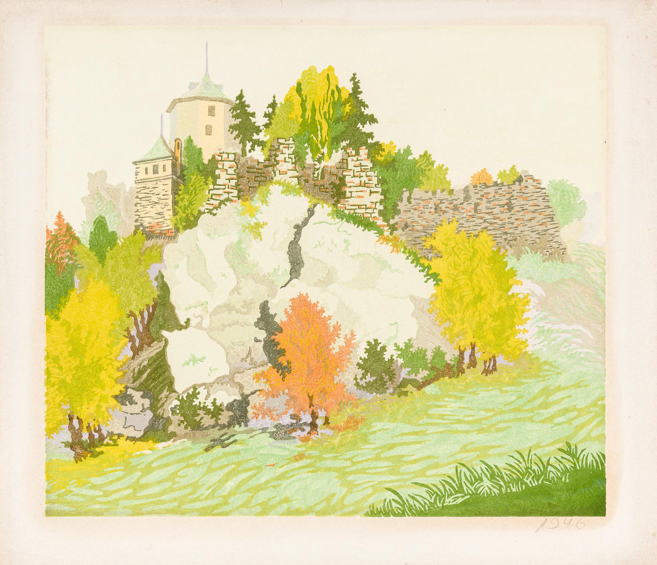 Ojców – ruiny zamku, lata 30. XX w.