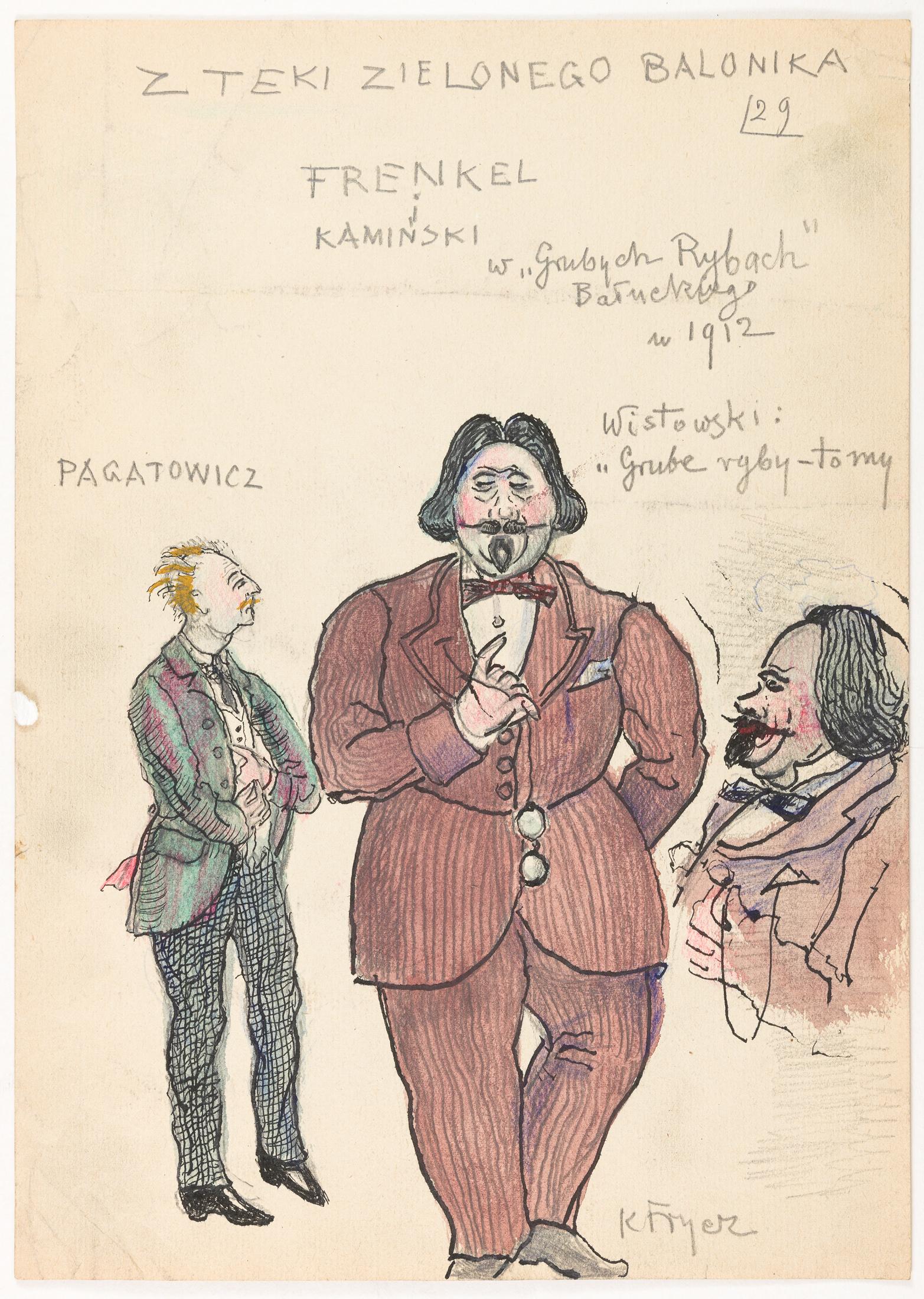 """Frenkiel i Kamiński w """"Grubych rybach"""" M Bałuckiego, 1912"""